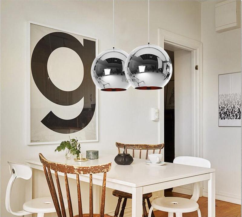 Horstent Nordic Home globe glass pendant lamp silver gold copper color dinning room living room light home decoration lighting (5)
