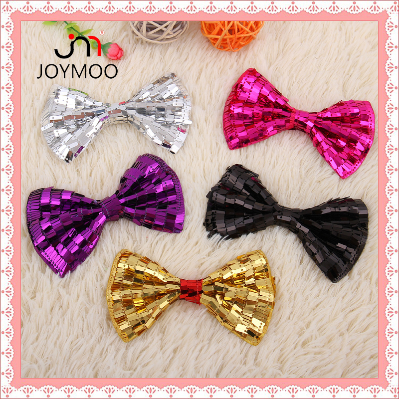New Arrival Reflective Emossed Children's Day Gift Bowknot Hairpin Hair Bow with Sequins for Kids Garments Shoes Hat Accessories