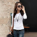 Korean Summer Women T Shirts Crew Neck Polyester slim slimming shirt Long Sleeve Bottoming Shirt Plus