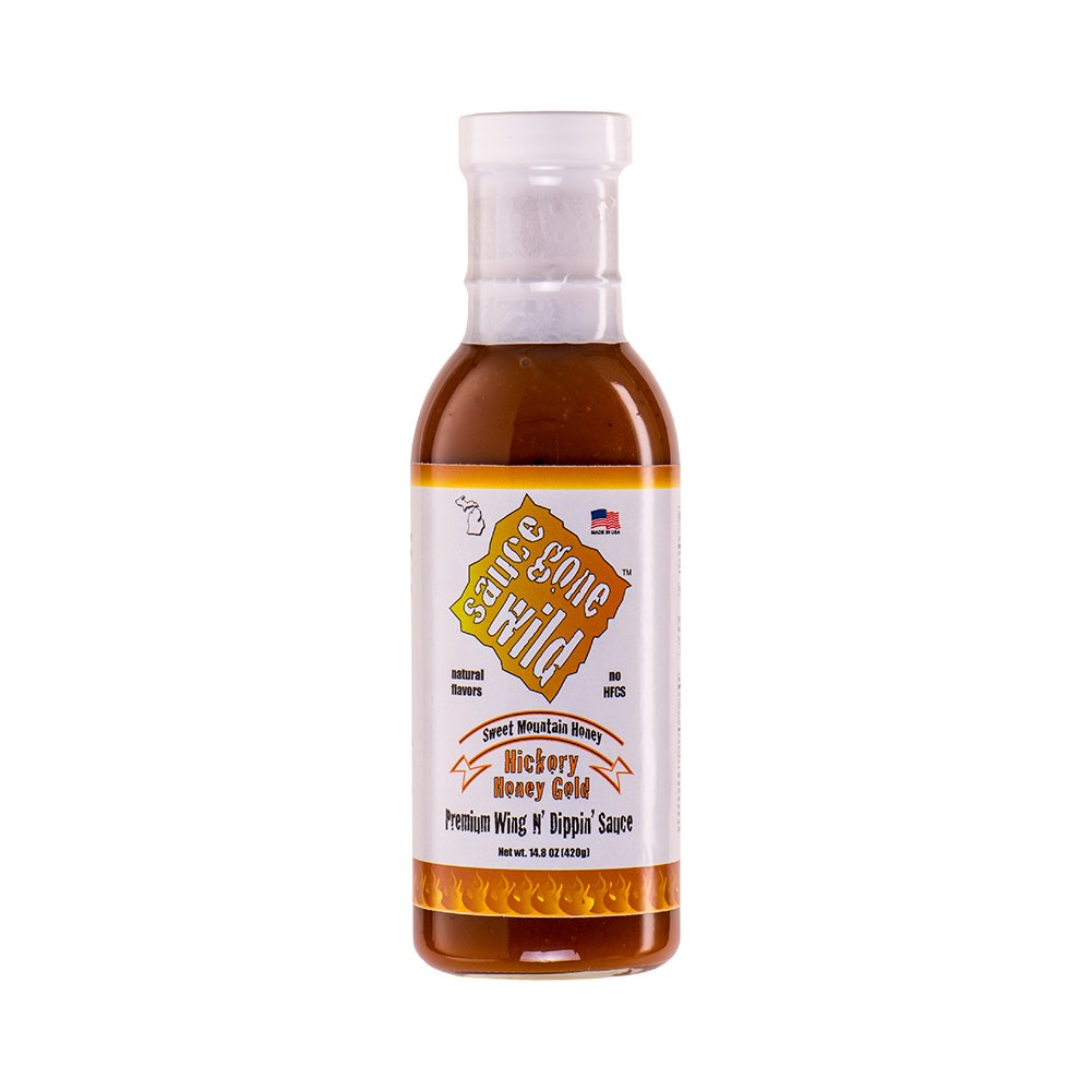 Sauce Gone Wild Wing Sauce - Honey Hickory Flavor - 13.1oz - Hot Marinade for Grilling & Cooking Chicken - Made in USA - Tasty Restaurant Style Wings at Home