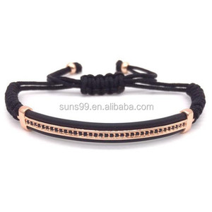 New Design Stainless Steel Metal Bead Gem Paved Band Bracelet