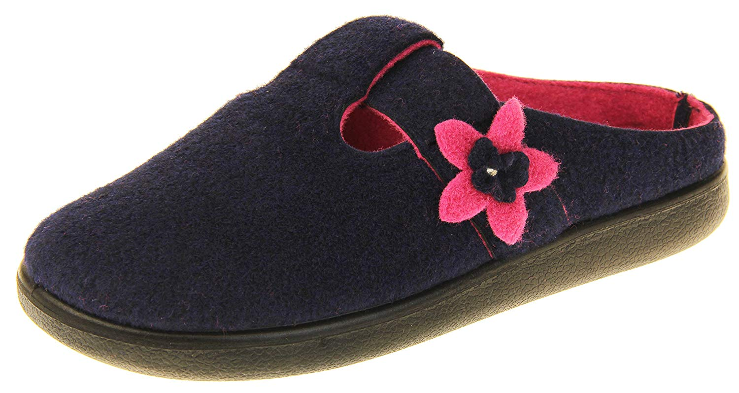19f5a6fc8 Get Quotations · Coolers Womens Navy T-Bar & Pink Flower Felt Mules Slippers  9 B(M