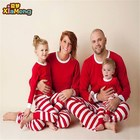 White and red striped family christmas pajamas for adult and kids