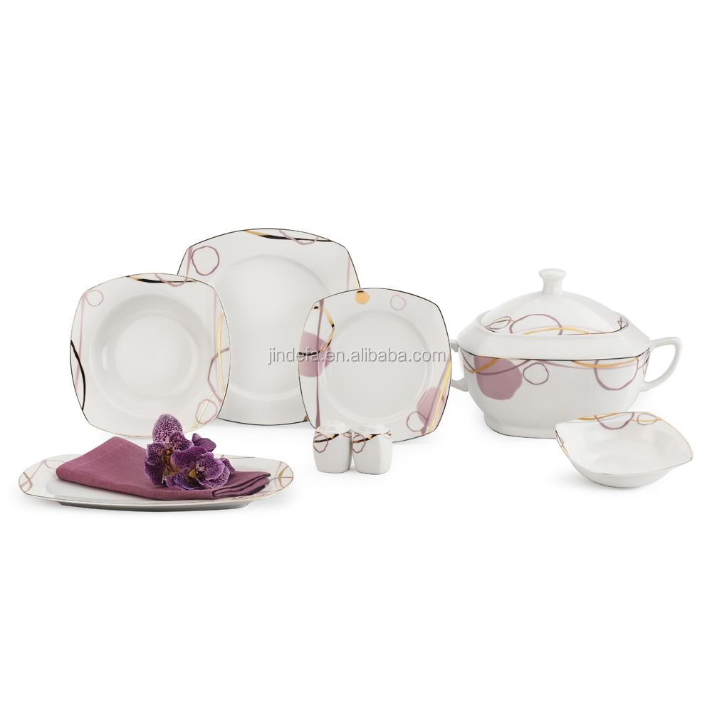 wholesale high quality fine porcelain square shape 20 pcs dinnerware set 125 pcs elegance fine porcelain dinner set