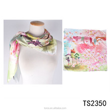 Toros wholesale custom own design flower printing silk square scarf