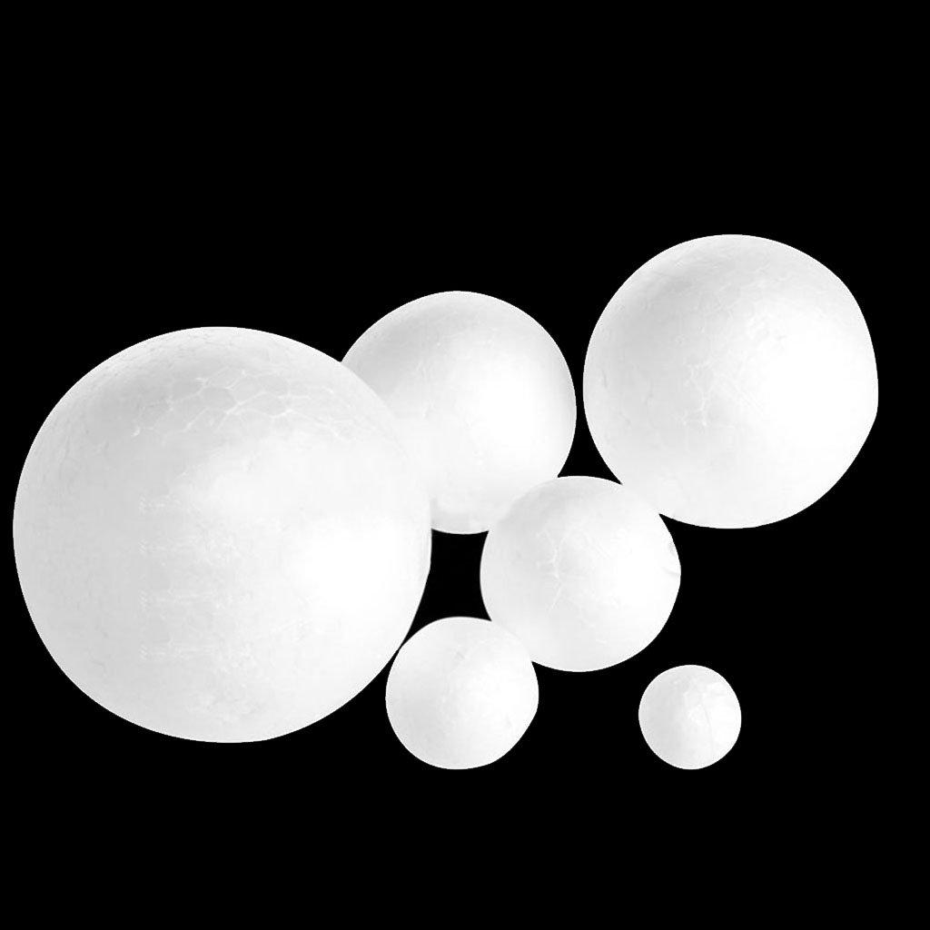 Techinal 6pcs Modelling Polystyrene Styrofoam Foam Ball Set DIY Craft Ball Including 20mm+30mm+40mm+50mm+60mm+80mm