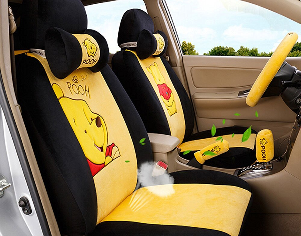 18pc Maimai88 superior quality Yellow and black Seat Covers Front & Back plush Seating Universal Full Set Favorite women car seat cover Easy to install Fit Most Car