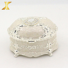 Hot sale Decorative fancy silver plated Zinc Alloy Metal jewelry box