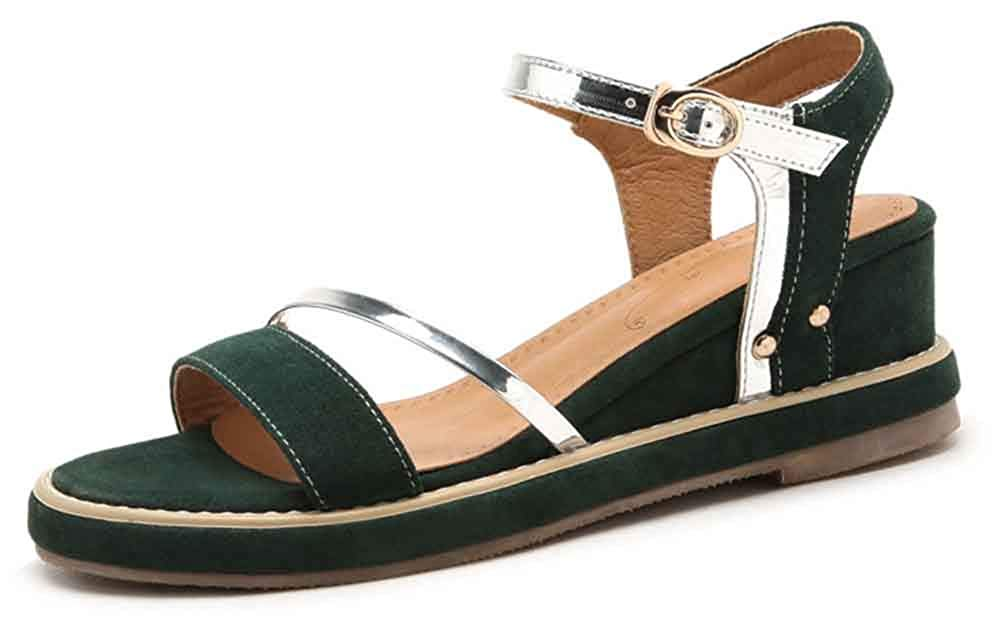 362c50efcb4 Get Quotations · Aisun Women s Open Toe Wedge Sandals with Platform -  Buckled Middle Heels - Comfy Thick Sole