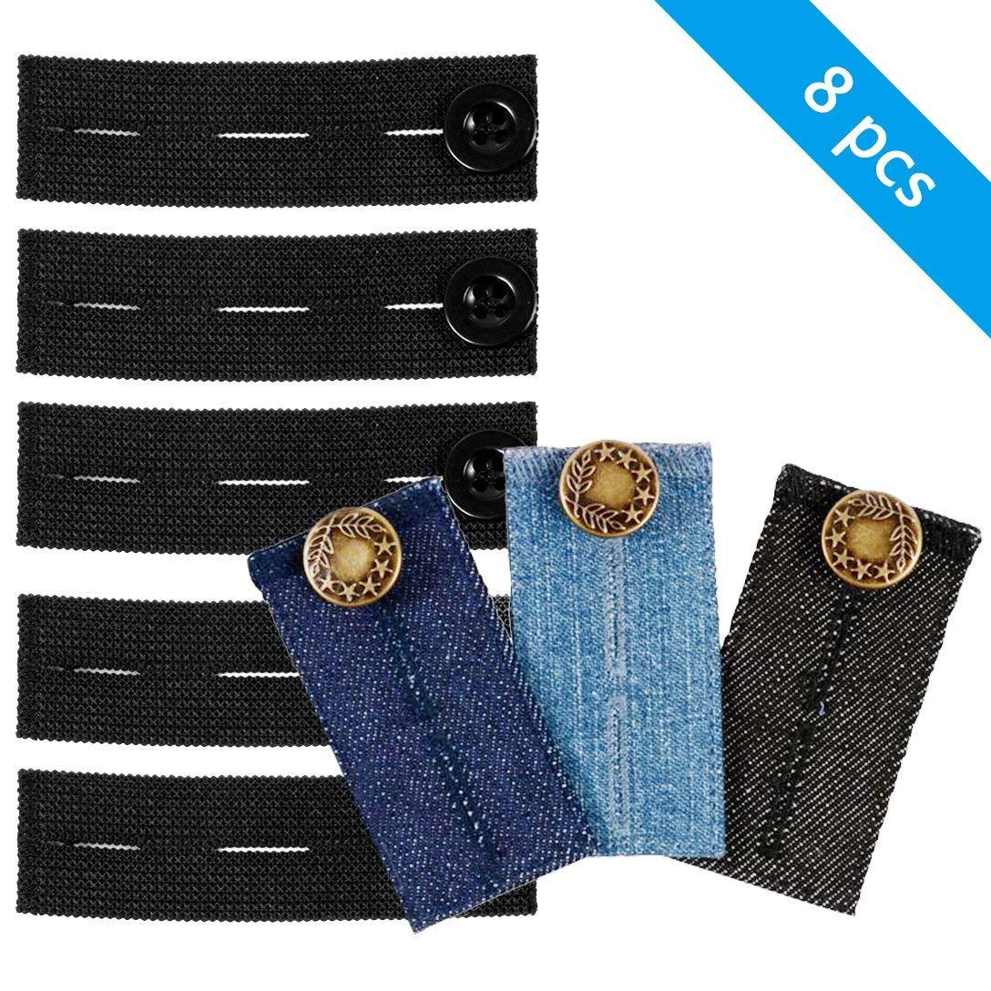 18//pack Elastic Jeans Pants Waist Extender Trousers Button Neck Extenders