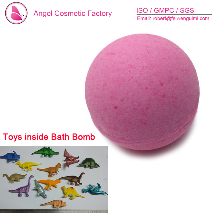 natural handmade bath bomb with toy for kids inside