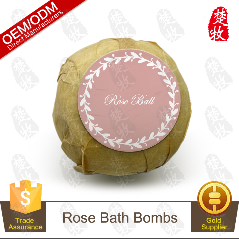100% Natural and Organic Rose Essential Oil Bath Bomb,Relaxing and Whitening Skin,OEM Supply
