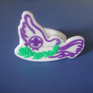 peace dove soft pvc woggle rubber scarf buckle