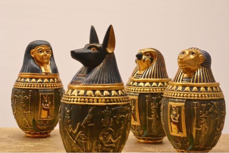 2019 Wholesale Egyptian Canopic Jar Set Of 5 Hapi Duamutef