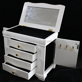 2 doors surface spray paint wooden jewelry box with many compartments