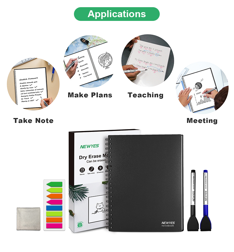 Newyes Wholesale A4 Blank Whiteboard Notebook Erasable Reusable Writing Memo Note