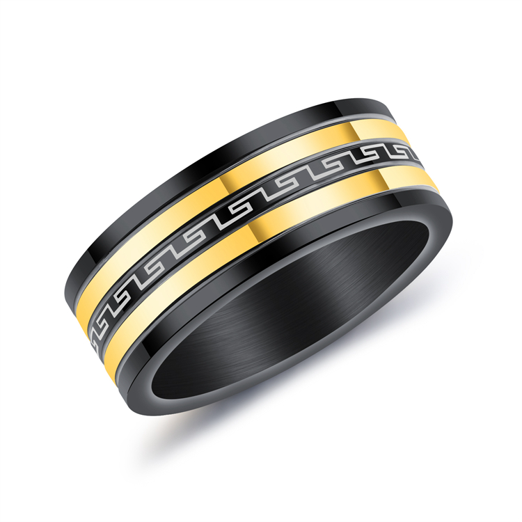 Ethnic Jewelry Great Wall Stripe Gold Color Titanium Steel Rings