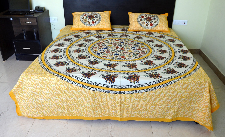 2b29acf768 Get Quotations · Double Bedsheet, Jaipuri Hand Block Printed Bedsheet,  Indian Rajasthani Sanganeri Jaipuri Double Bedsheet,