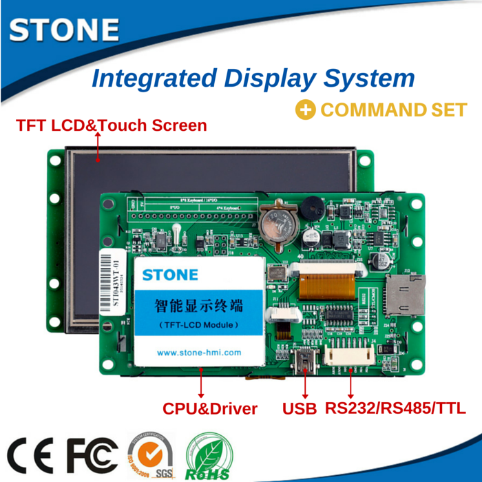 Programmable 65k TFT LCD display with touch screen--support 1 piece sample with Software/Command Set/Instruction