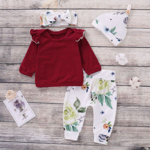 4PCS Newborn Baby Girls Clothes Long Sleeve Red Tops Floral Pants Headband Hat Outfits For 2018 Autumn Winter Kids Clothing