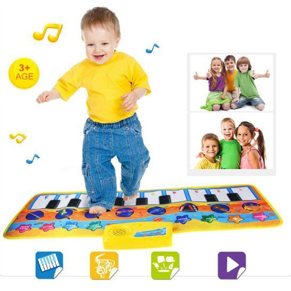 Gbell Floor Piano Keyboard Music Play Mat,Touch Singing Dancing Musical Mat for Toddlers - Educational Games Gym Carpet Toy Gift for Baby Girls Boys Kids 1 2 3 4 5 6 Years Old,80×28CM