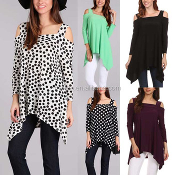korean women clothing 100% polyester Long Sleeve Open-Shoulder Sidetail Top Slim Fit Shirt