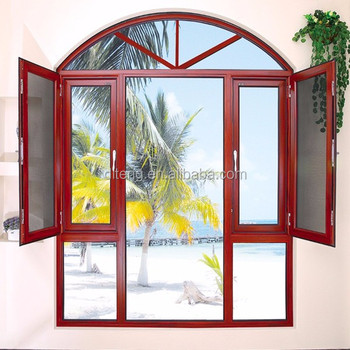 Awning Swing Entry Door Arched Timber Grain Aluminium Roger Door Double  Glass Center Hinged Patio Doors
