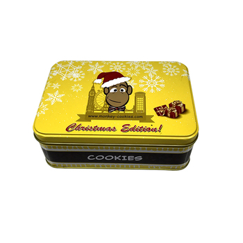 Printed cookie tins empty rectangular sweet cookie tin box with insert PVC tray