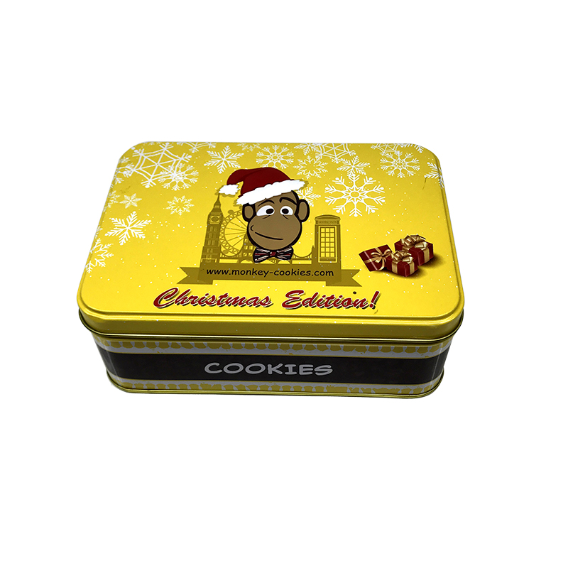 Printed cookie tins empty rectangular sweet cookie tin box