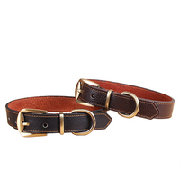 3cm brown cowhide leather dog collar with bronze alloy bruckle