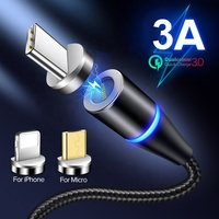 3 in 1 Micro USB Magnetic Magnet Quick 3A USB Type C Cable Phone Data Cables Fast Charging