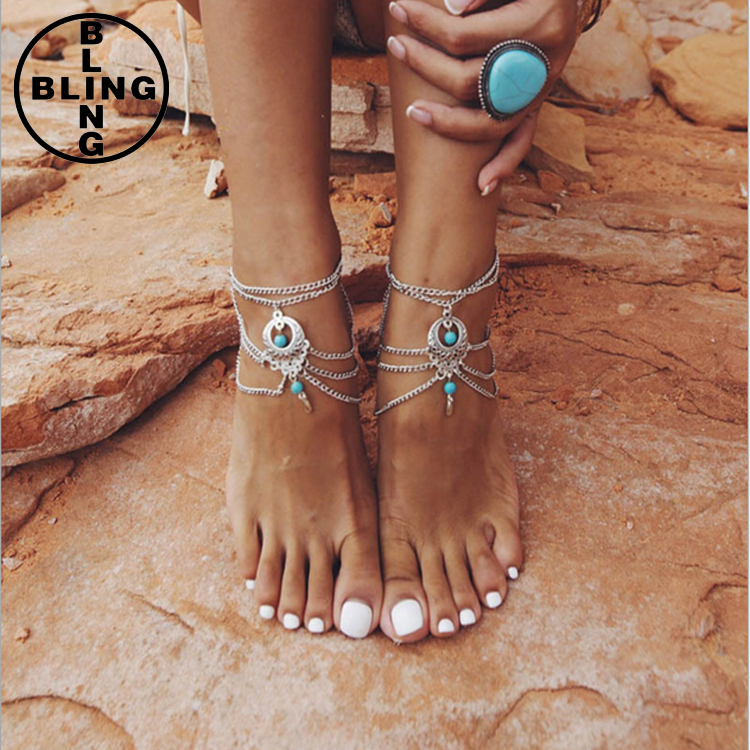 >>>Silver Tone Multi Layers Tassel Foot Chain Hollow Out Turquoise Beaded Anklet