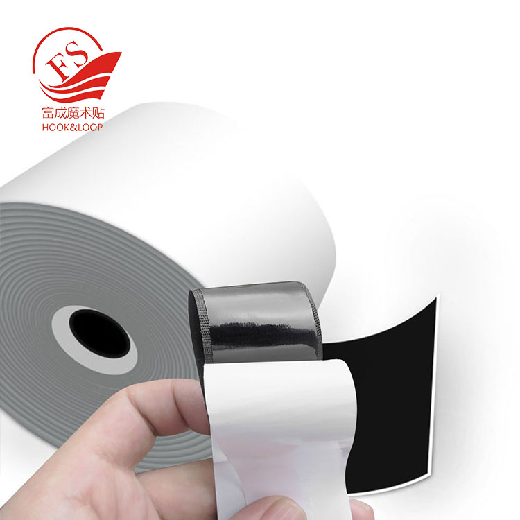 best price black nylon polyester blending and hot melt glue backing adhesive magic tape hook loop from China Fucheng