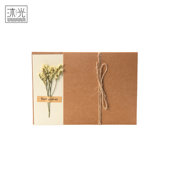 Custom Design Kraft Paper Material Thank You Teacher Day Greeting Card With Dry Flowers