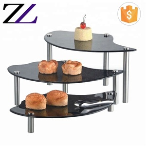 Food shelf equipment black decorative items for sale 3 tiers wedding dessert display wholesale glass cake stand