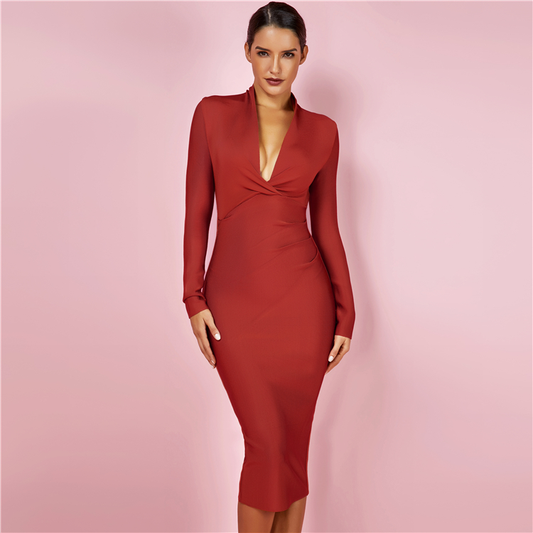 Fashion Plunge Neck Tan Draped Long Sleeve Bodycon Sexy Evening Party Dress Woman