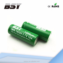 Super power batter 18500 aa alkaline battery BSY 18500 1200mah 18a 3.7 volt li-ion rechargeable battery