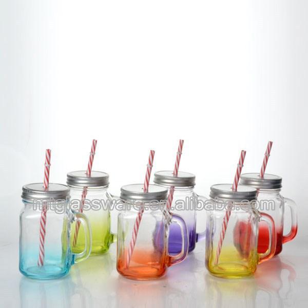 16 unzen gemalte farbe glas einmachglas mit griff mit deckel und strohhalm speicherflaschen und. Black Bedroom Furniture Sets. Home Design Ideas
