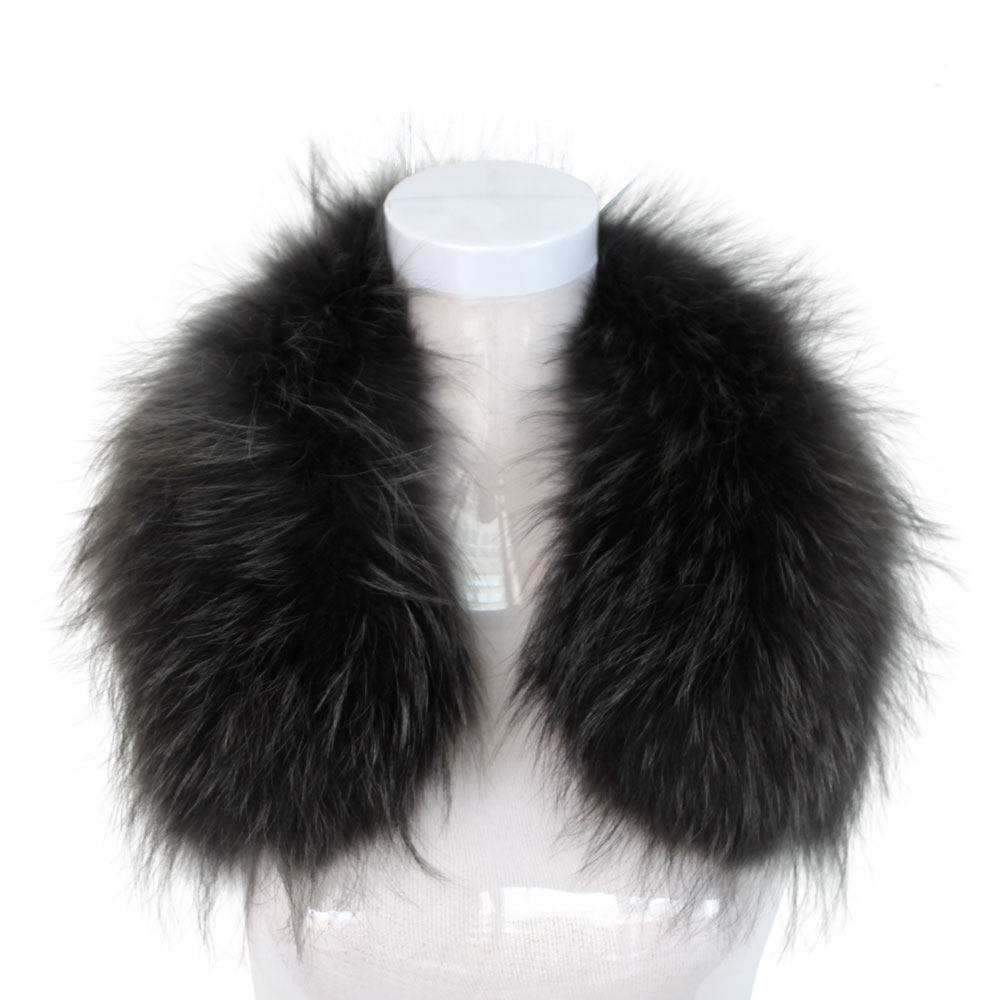 Dyed Large Genuine Raccoon Fur Collar Trim for Coat