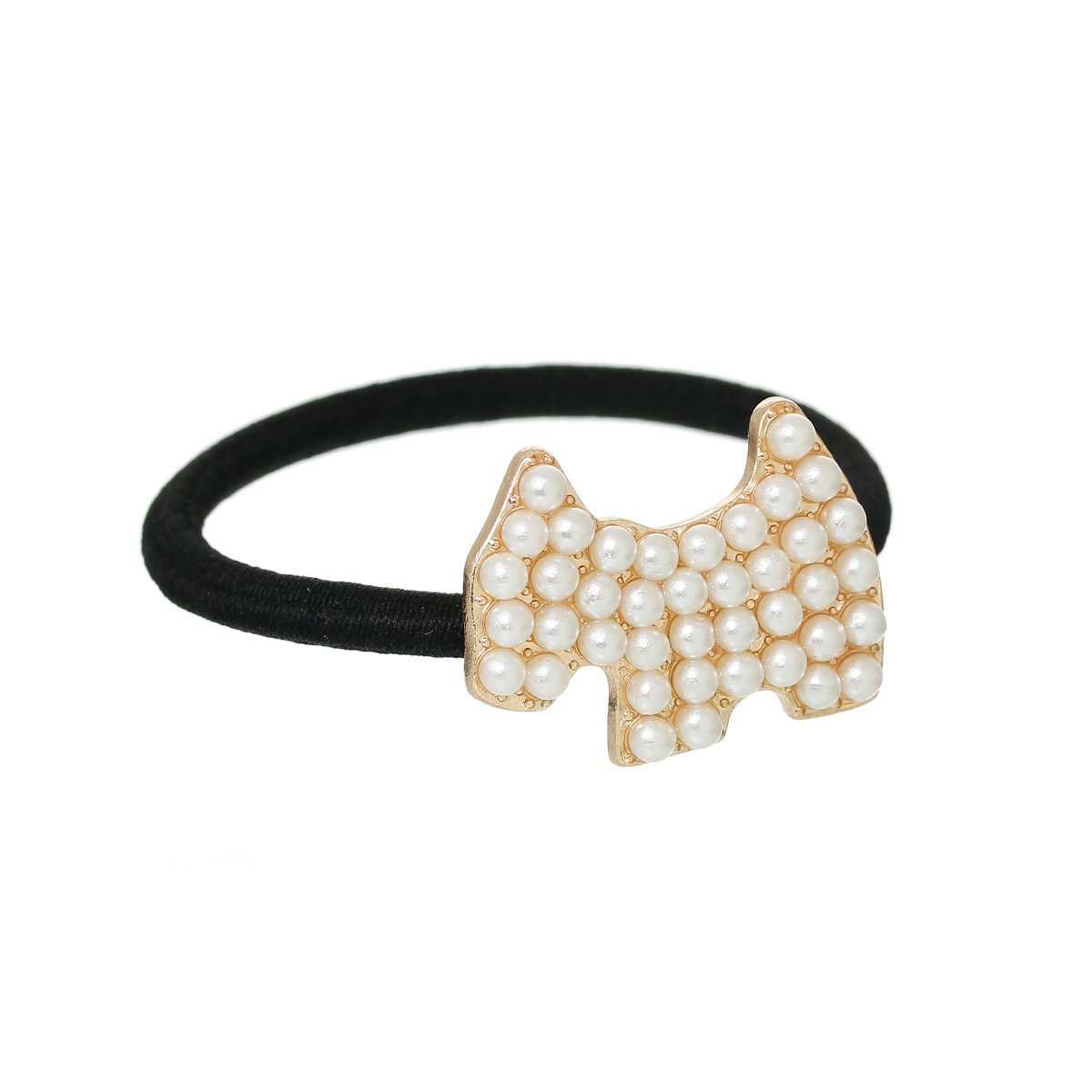 Nylon Cirlce Ring Hair Band Ponytail Holder Black Acrylic Imitation Pearl Choose Your Style From Menu (Dog)