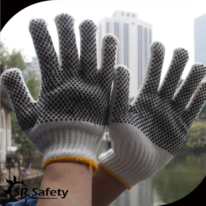SRSafety cheapest polka dot gloves/cotton gloves