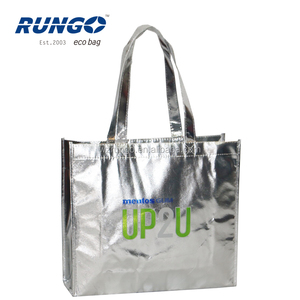 Offset-printed silver non woven with metallic lamination shopping bag shopper