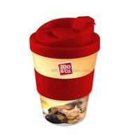 8oz Plastic coffee to go mug with silicon lid and band