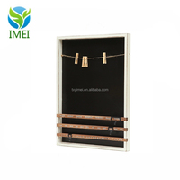 Wall Mounted Wood Frame Chalkboard Vintage Wood Sliding Calendar & Clip Photo IMEI18016