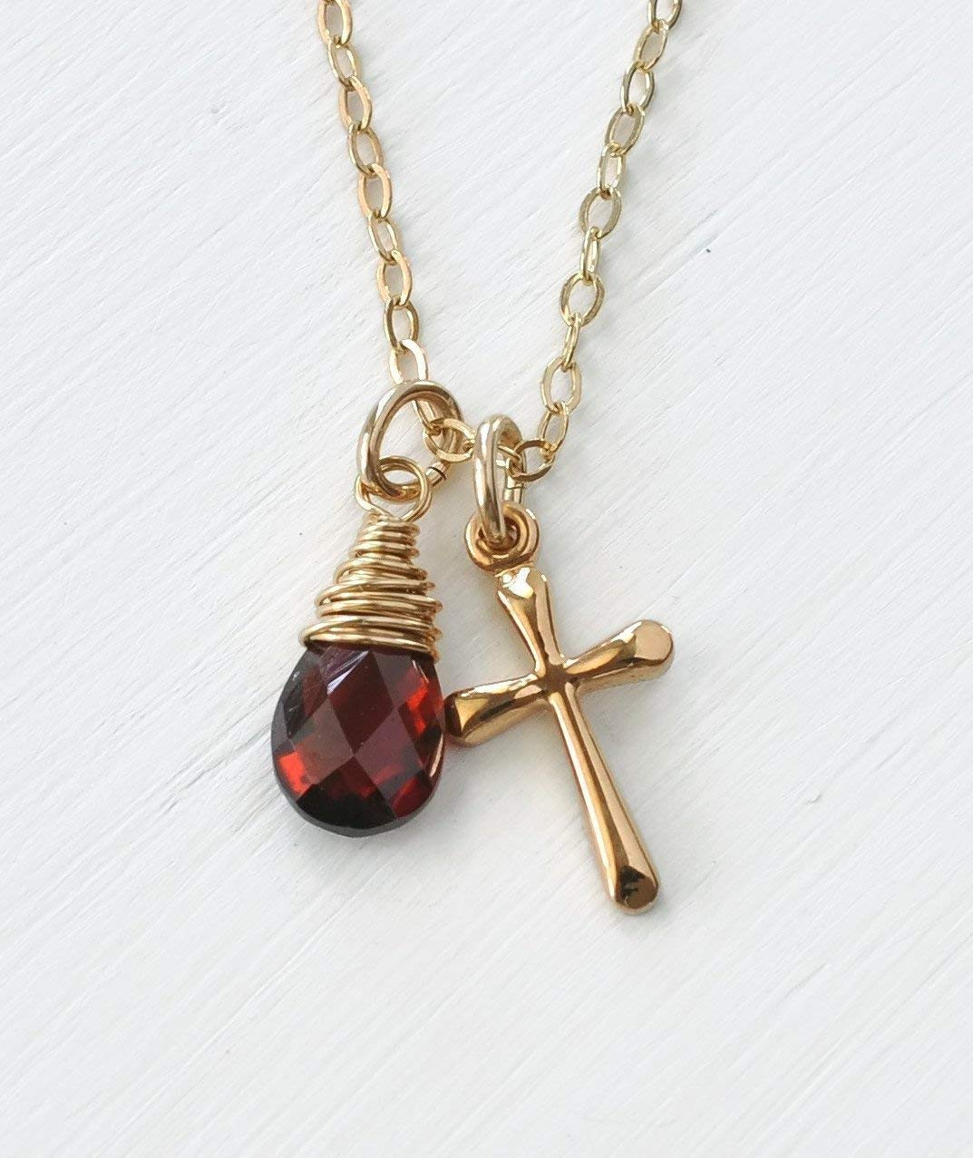 Lux Accessories Garnet Siam January Birthstone Pendant Disc Pave Charm Pendant