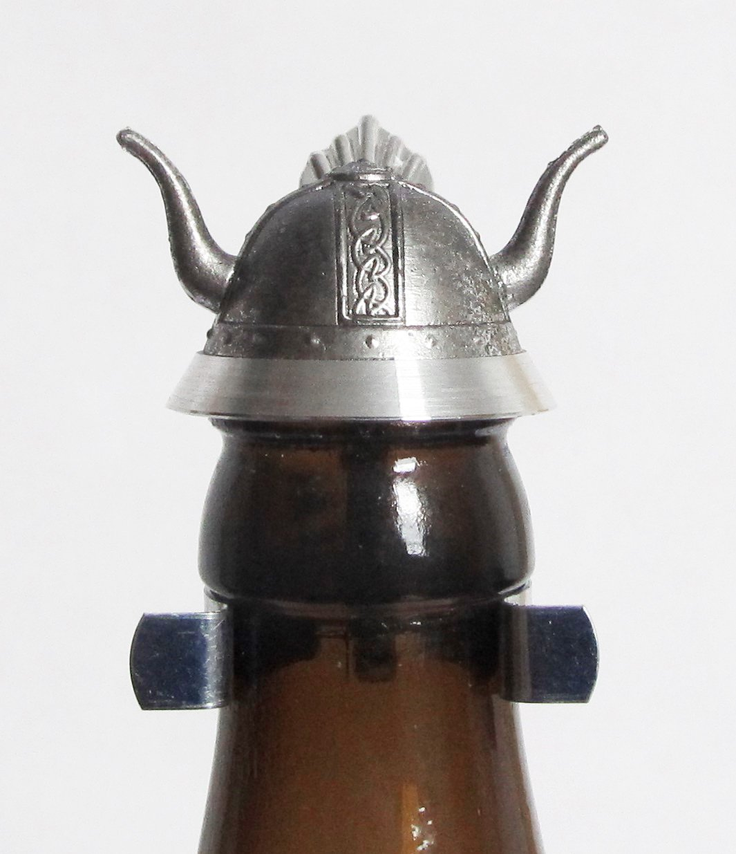 Viking Helmet Oktoberfest Party Favor Beer Bottle Stein Lid | Pewter Viking Horn Helmet Beer Stein Lid for Bottles | Made in Germany
