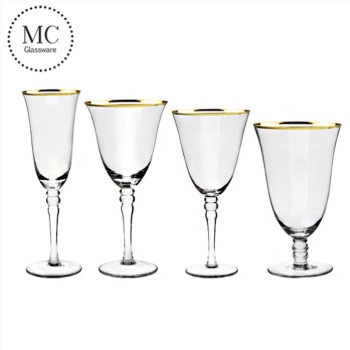 Gold rimmed personalized wedding goblet red wine glasses
