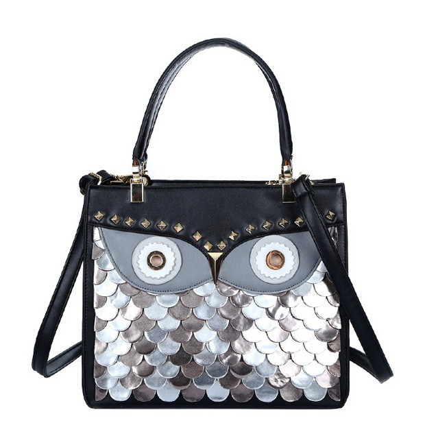 2015 Designer Women Handbags Owl Rivet Animal Shaped Shoulder Bags Large Black Ladies Tote Bag Bolsa Feminina