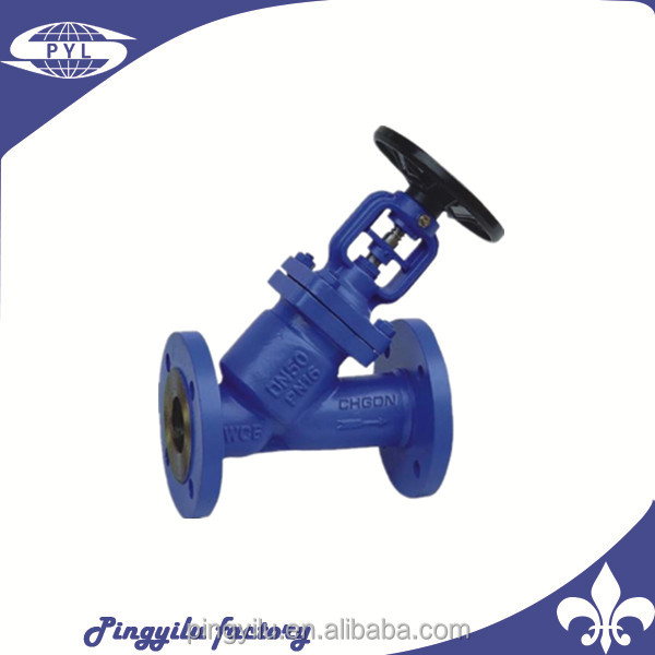 2017 new design din cast iron pn16 y type globe valve