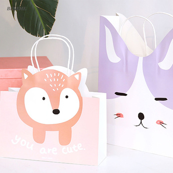 Silly Animal Style Custom Printed Personalised Paper Gift Bags with Handles